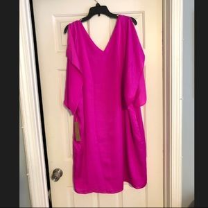 Hot Pink Flutter Sleeve Dress- Plus Size